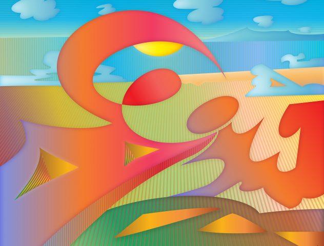 No puedes ocultar el sol, 2020. Pintura digital sobre tela, 97 x 122 cm