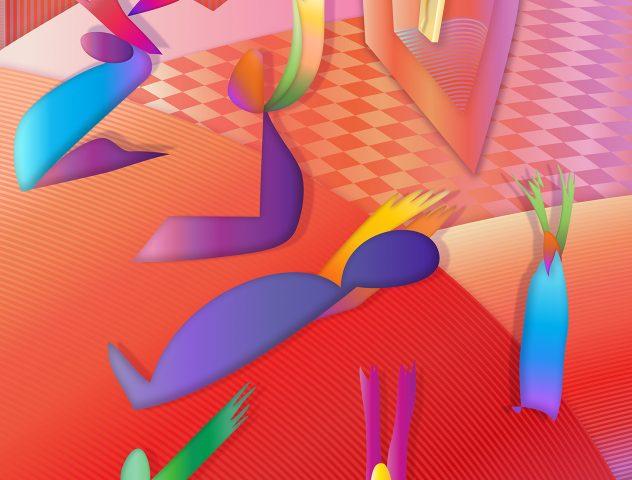 Solo en tiempos de angustia, 2020. Pintura digital sobre tela, 127 x 102 cm.