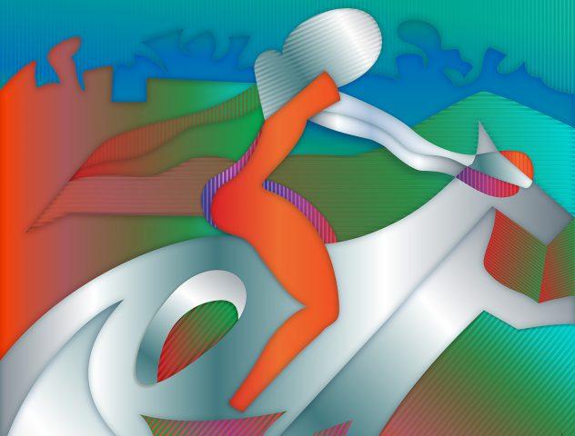 A caballo, 2020. Pintura digital sobre tela, 81 x 102 cm.