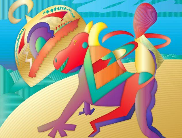 El carnaval, 2019. Pintura digital sobre tela, 102 x 122 cm.