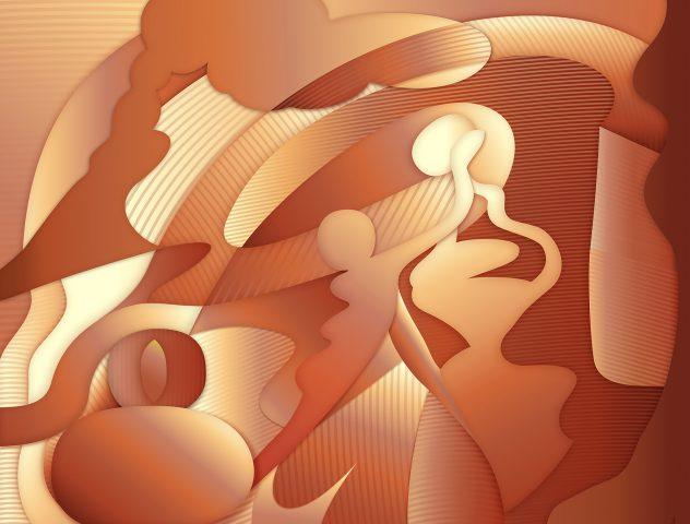 Unificación, 2018. Pintura digital sobre tela, 102 x 127 cm.