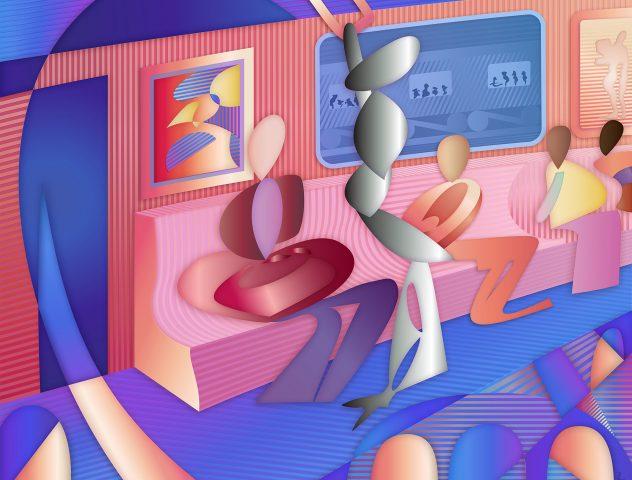 Subway, 2018. Pintura digital sobre tela, 102 x 127 cm.