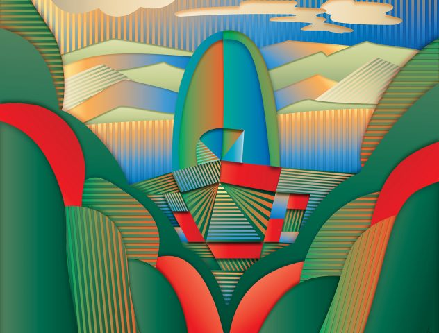 Paisaje, 2016. Pintura digital sobre tela, 81 x 102 cm.